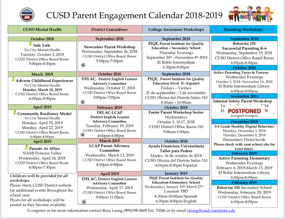 CUSD 18-19 Parent Engagement Calendar